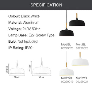 MORT 1-Light Modern Pendant Light White E27 - 7Pandas Lighting Store Australia