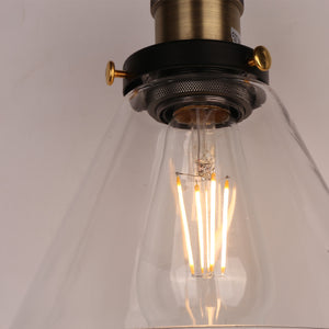 PENY 1-Light Antique Glass Pendant Light Black E27