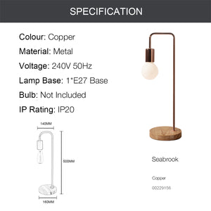 SEABROOK 1-Light Industry Wood Base E27 Copper Table Lamp