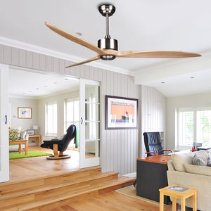 DARWIN 164cm / 65 inch 3 Blade DC Modern Ceiling Fan Timber in Brown
