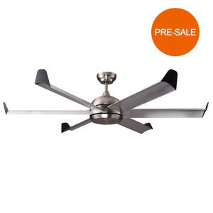 FLORIDA 152cm / 60 inch 6 Blade DC Modern Ceiling Fan Aluminium Alloy in Stainless Steel