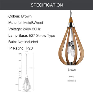 BEN 3-Light Timber Chandelier Round Dark Brown E27 - 7Pandas Lighting Store Australia