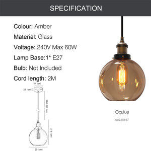 OCULUS 1-Light Modern Glass Pendant Light E27 Amber