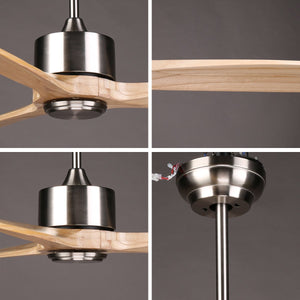 DARWIN 164cm / 65 inch 3 Blade DC Modern Ceiling Fan Timber in Brown - 7Pandas Lighting Store Australia