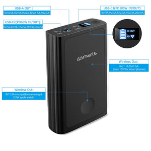 4smarts Powerbank VoltHub Graphene 20000mAh with 160W Fast Charge Black - 7Pandas Lighting Store Australia