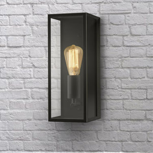EMILY 1-Light Outdoor Wall Light Glass Shade Black E27 - 7Pandas Lighting Store Australia