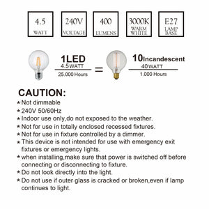 LED Filament G95 Bulb Globe Shape Full Glass 4.5W E27 3000K Warm White
