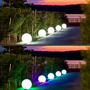 FULL MOON LED Ball Light Solar & AC Charging, 16 RGB Color Changing, Garden Landscape Decors 30CM
