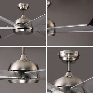 FLORIDA 152cm / 60 inch 6 Blade DC Modern Ceiling Fan Aluminium Alloy in Stainless Steel - 7Pandas Lighting Store Australia