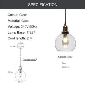 OCULUS 1-Light Modern Glass Pendant Light E27 Clear