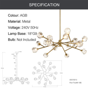 TULIM 18-Light Crystal Chandelier Aged Brass G9 - 7Pandas Lighting Store Australia