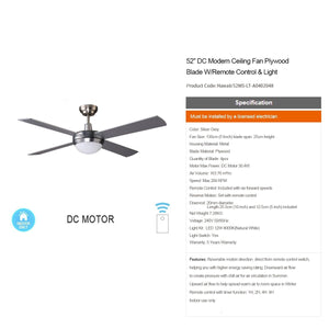HAWAII 132cm / 52 inch 3 Blade DC Modern Ceiling Fan in Silver - 7Pandas Lighting Store Australia