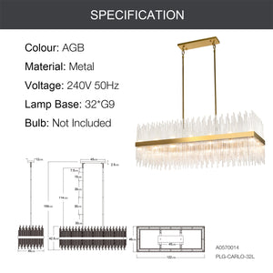 CARLO 32-Light Modern Crystal Chandelier Aged Brass G9 - 7Pandas Lighting Store Australia