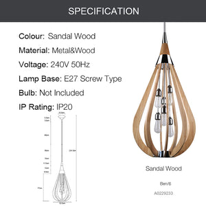 BEN 6-Light Timber Chandelier Round Nature Wood E27 - 7Pandas Lighting Store Australia