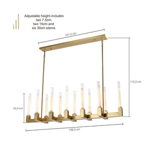 MONTE 12-Light Crystal Chandelier Long Aged Brass E27 - 7Pandas Lighting Store Australia