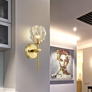 TULIM 1-Light Wall Light Short Stem Crystal Glass Shade Aged Brass G9 - 7Pandas Lighting Store Australia