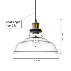 FORTUNE 1-Light Retro Glass Pendant Light Antique E27
