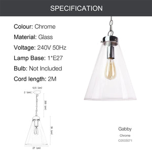 GABBY 1-Light Modern Glass Pendant Light Chrome E27 - 7Pandas Lighting Store Australia