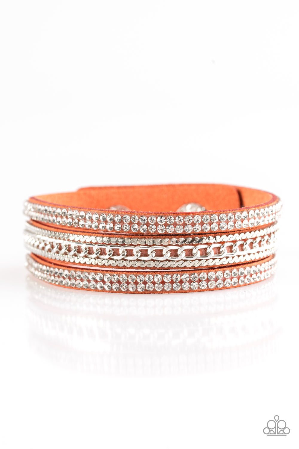 Paparazzi Unstoppable - Orange - White Rhinestones - Wrap / Snap Bracelet