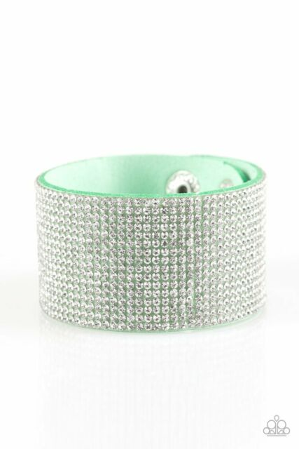 Paparazzi Roll With The Punches - Green - White Rhinestones - Wrap / Snap Bracelet