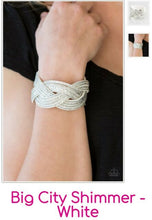 Load image into Gallery viewer, Big City Shimmer – White Snap Bracelet ~ Paparazzi