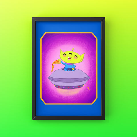 "Flying Saucer Alien 5x7"" Art Print"