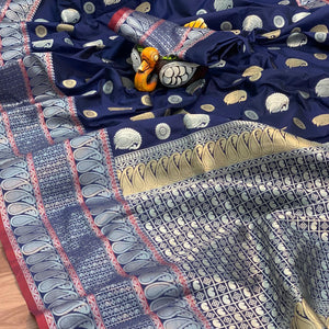 Designer Soft Kanjeevaram Blue Silk Saree