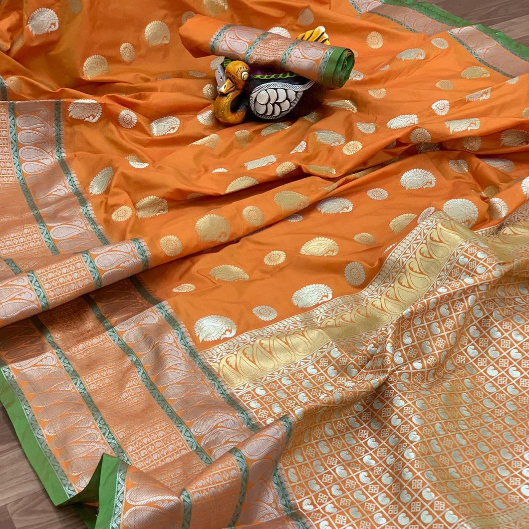 Silver and Gold Zari Woven Orange Silk Saree