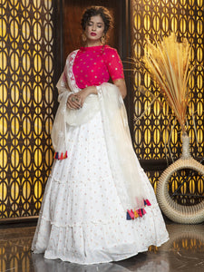 Hot Pink and White Frill Ruffle Designer Lehenga Choli