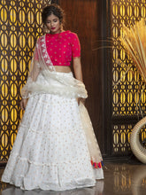 Load image into Gallery viewer, Hot Pink and White Frill Ruffle Designer Lehenga Choli