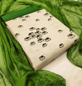 Beige and Green Khadi Cotton Printed Dress Material