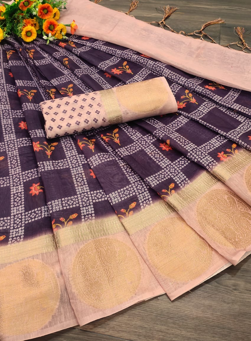 Purple Handloom Linen Saree With Zari Woven Pallu