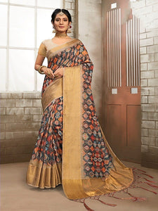 Black Printed Linen Saree With Golden Border