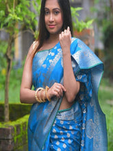 Load image into Gallery viewer, Blue Cotton Silk Saree