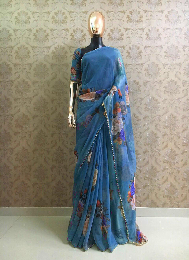 Blue Designer Party Wear Georgette Saree