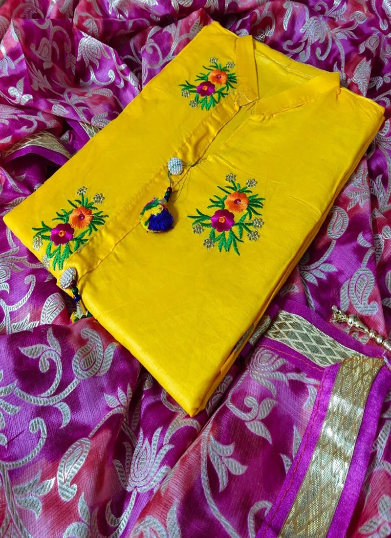 Yellow Cotton Embroidered Dress Material