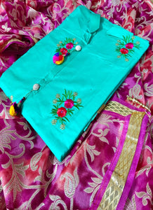 Sky Blue Embroidered Cotton Suit Material