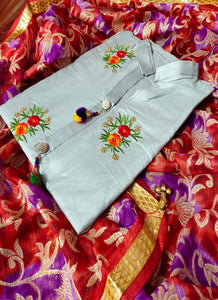 Grey Embroidered Cotton Dress Material