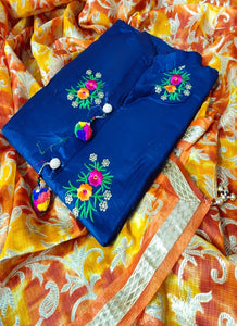 Blue Cotton Dress Material with Printed Dupatta