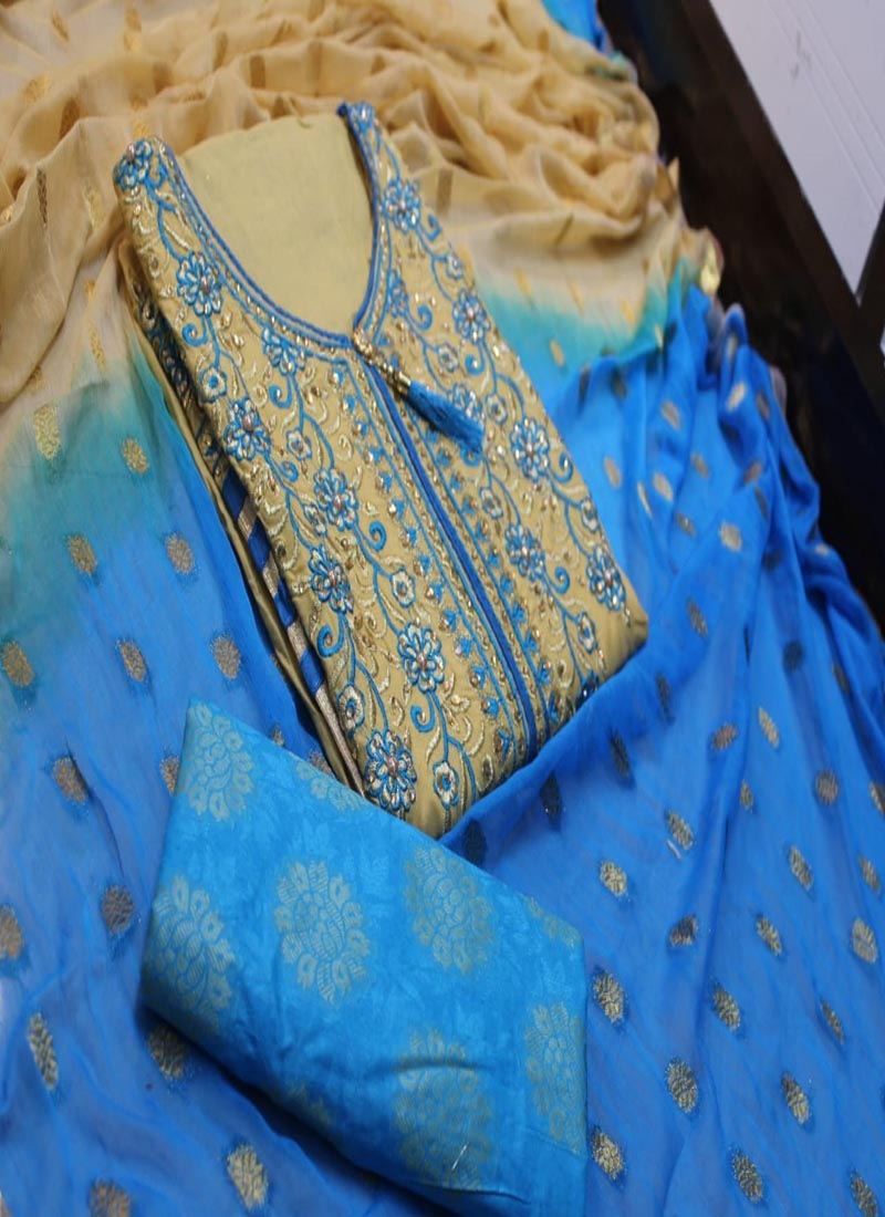 Designer Blue Cotton Churidar Material