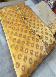 Yellow Designer Banarasi Silk Dress Material