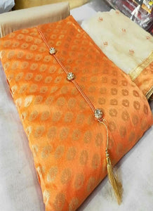 Orange Banarasi Silk Churidar Dress Material
