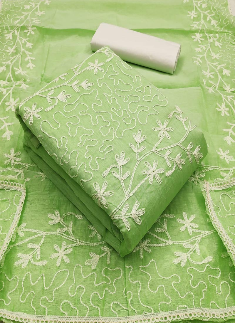 Green Embroidered Ladies Cotton Dress Material