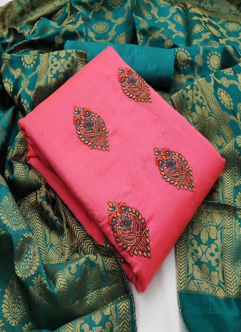 Pink and Turquoise Chanderi Salwar Suit with Banarasi Dupatta
