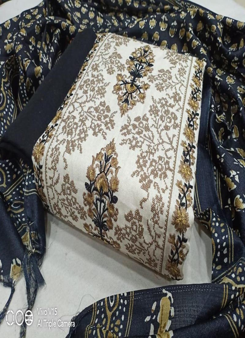 White Chanderi Silk Suit with Black Printed Dupatta