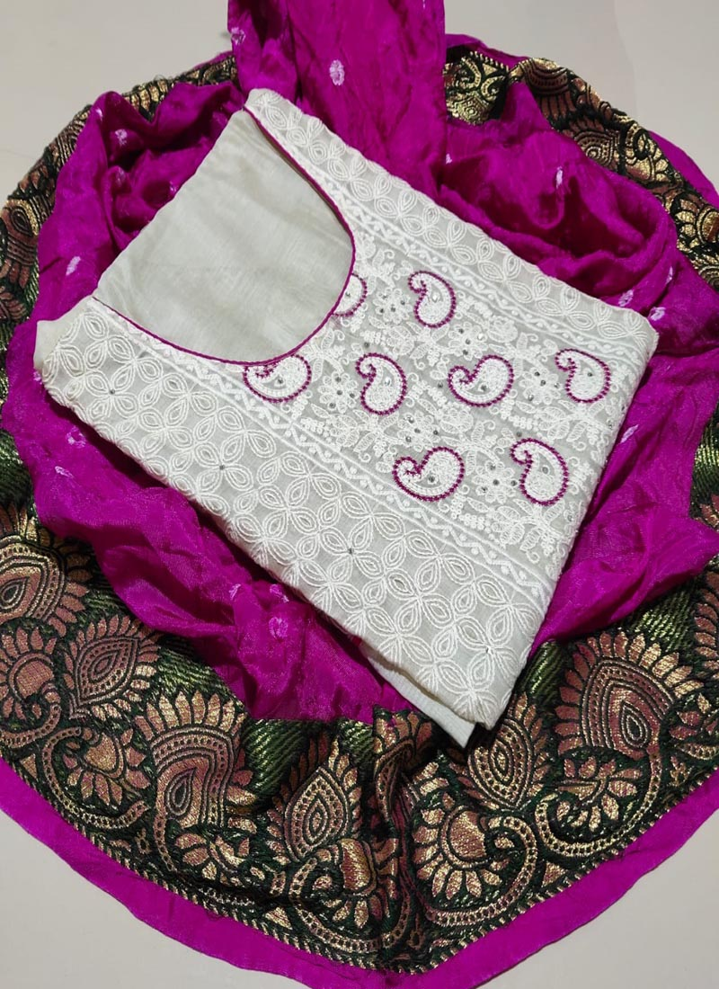 White Cotton Dress Material with Purple Bandhani Dupatta