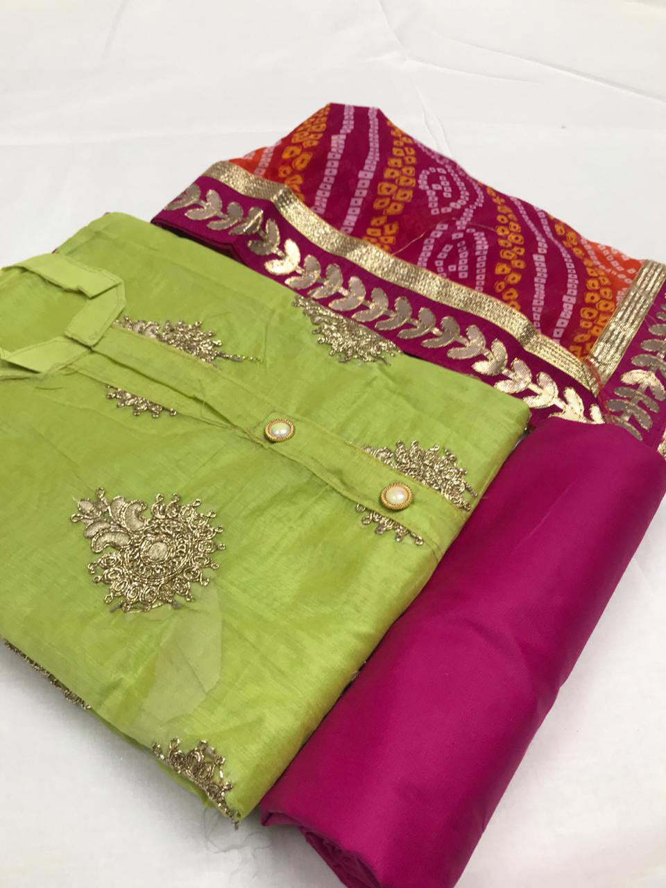 Parrot Green Chanderi Silk Salwar Suit with Bandhani Dupatta