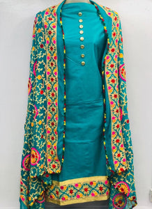 Plain Sky Blue Salwar Suit with heavy Embroidered Dupatta
