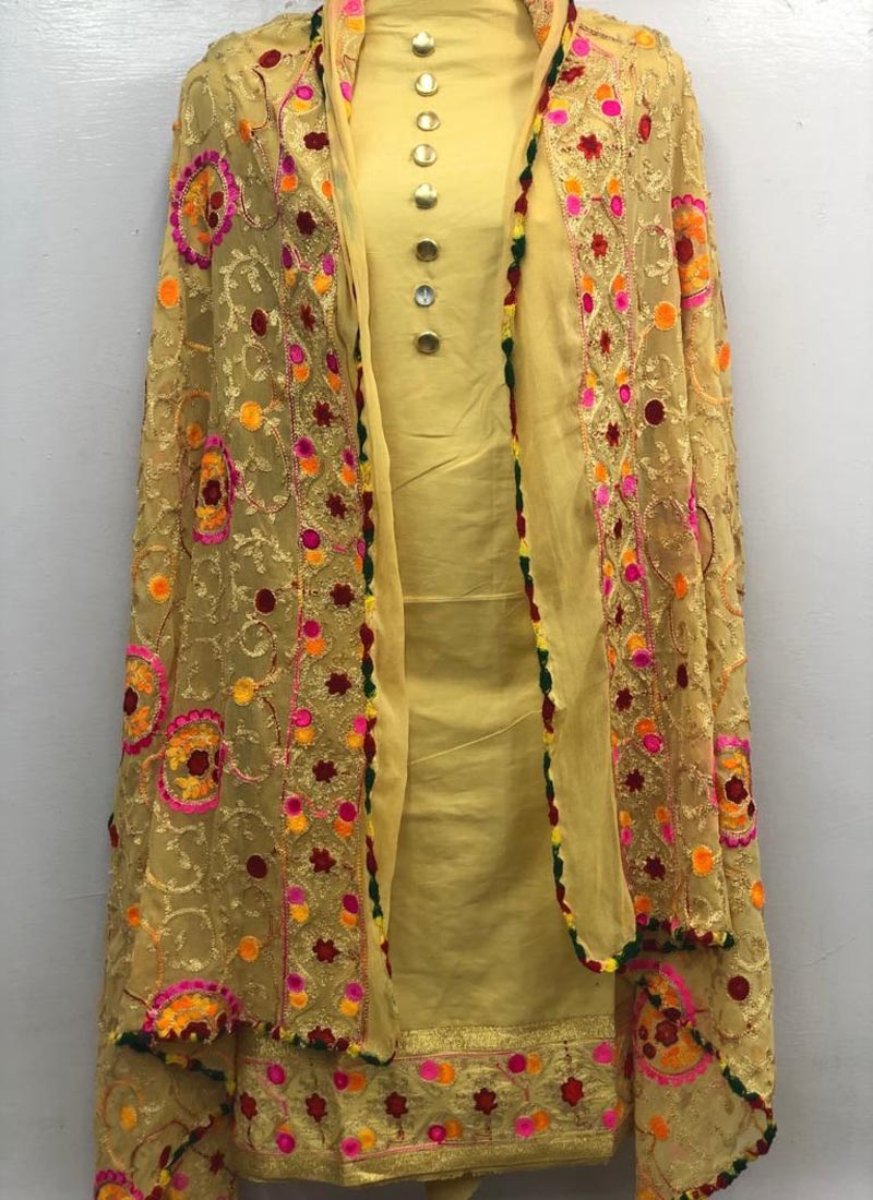 Plain Yellow Salwar Suit with heavy Embroidered Dupatta