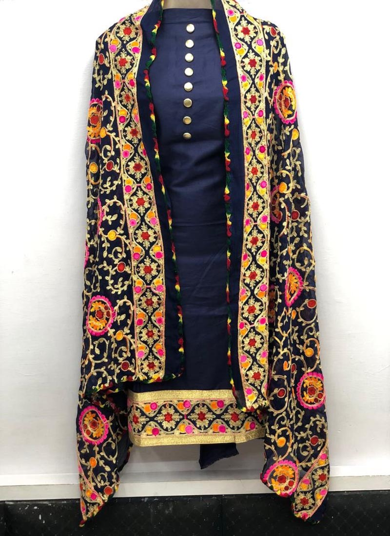 Plain Navy Blue Salwar Suit with heavy Embroidered Dupatta